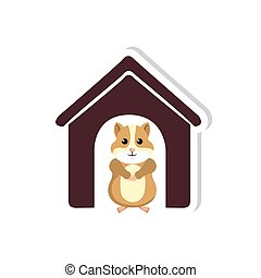 cute hamster mascot icon vector illustration design