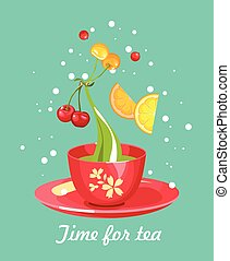 tea time card - illustration tea party card with a cup of...