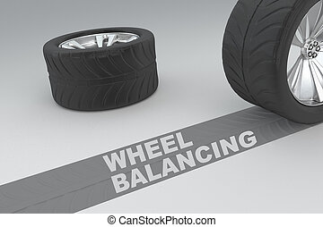 Wheel Balancing safety conceptual image of 3D rendered...