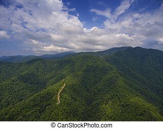 Cáucaso, montanhas, aéreo, vista