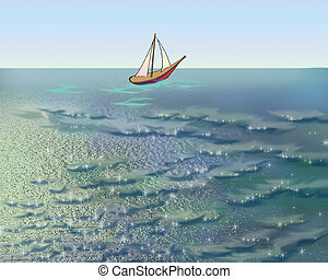 Sailboat in the Sea in a Summer Morning