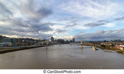 Time lapse of clouds over Tillikum Crossing and Marquam bridge in downtown Portland Or