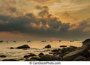 Fiery Morning Skyline Vietnan - A fiery orange morning sky...