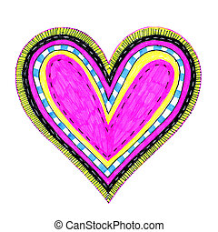 Bright color heart with abstract pattern on white...