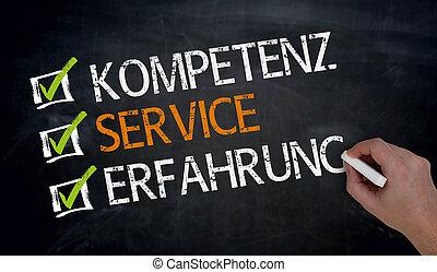 Kompetenz, Service, Erfahrung (in german Competence,...