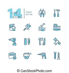 Tools - coloured modern single line icons set - Tools -...