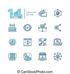 Connection - coloured modern single line icons set. -...