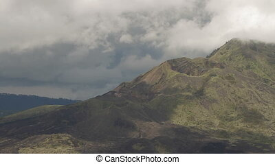 Top of the Batur volcano. Aerial view from Kintamani. Lava...