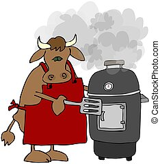 Cow Cooking On A Smoker Grill - This illustration depicts a...