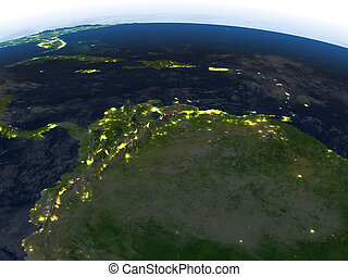 North of South America at night on planet Earth - North of...