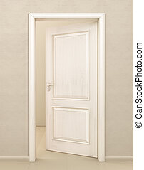 Door white wood, input, open,premises, cleanliness, design