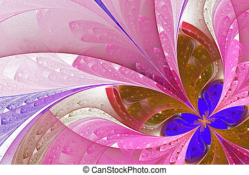 Beautiful fractal flower in blue and pink. Computer generated graphics.
