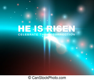 He is risen, celebrate the resurrection. Easter card with...