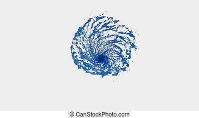 Blue Liquid tornado. Beautiful colored paint whirl. Isolated transparent vortex of liquid like whirlwind 3d animation with alpha matte. Version 5