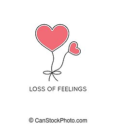 Loss of feelings line icon - Vector thin line icon, problems...