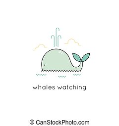 Whale line icon - Whale vector thin line icon. Colored...