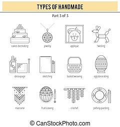 Types of handmade set - Thin line icons set, vector...