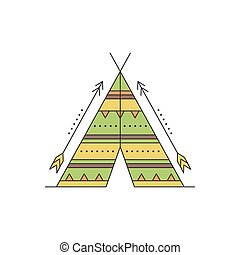 Wigwam line icon - Tribal vector thin line icon, indian...