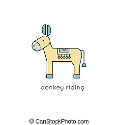 Donkey line icon - Donkey vector thin line icon. Colored...