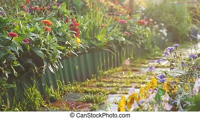 A beautiful path in the flower garden illuminated by...