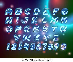 Line neon alphabet font letters set