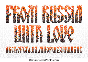 Old slavic font red and black caviar