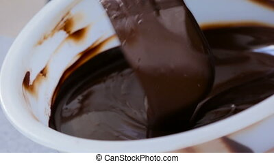Chocolate being melted in a bowi