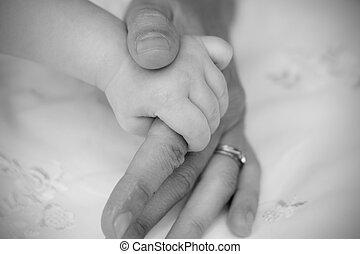 bebé, tenencia, mamá, dedo