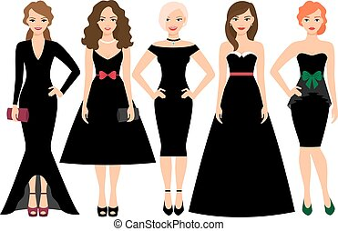 Young women in black dresses - Young woman in different...