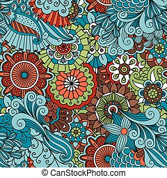 Colorful floral ethnic pattern with leaves and swirls....