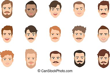 Male portrait with various hairstyle - Human face set vector...