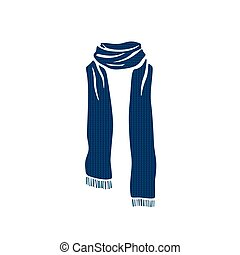 Stripped scarf icon, winter cold season logo on white...
