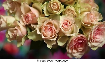 Flowers roses beautiful bouquet, background overhead view...