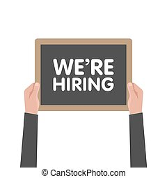 We are hiring sign in hand vector illustration