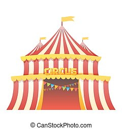 Circus tent fun park in white background vector...