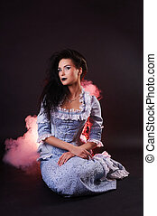 portrait of halloween vampire woman aristocrat with stage...