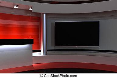 Studio. Tv studio. Red Studio. Red back drop. 3d rendering