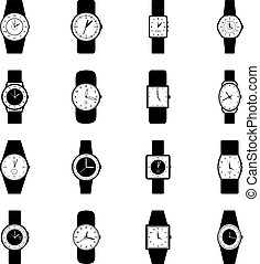 Set of wristwatches, vector illustration
