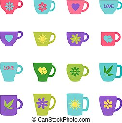 Set of bright cups and mugs, vector illustration