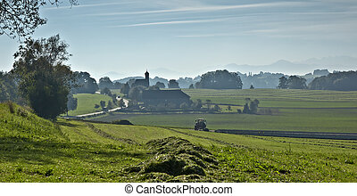 Bayern - An image of a beautiful landscape with fog in...