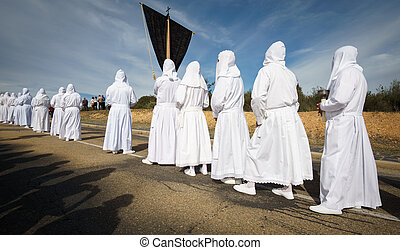 sombras, turista, procesión, tradicional, fraternidad,...