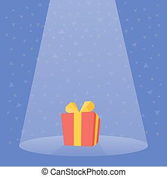 Gift Prize red box spotlight vector illustration