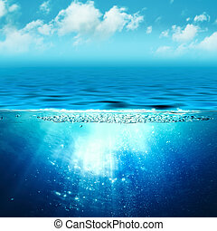Abstract marine backgrounds with sun beam and underwater...