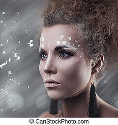Art makeup. Beauty female portrait with cute make-up