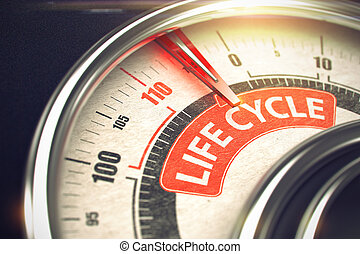 Life Cycle - Text on Conceptual Gauge with Red Needle. 3D. -...