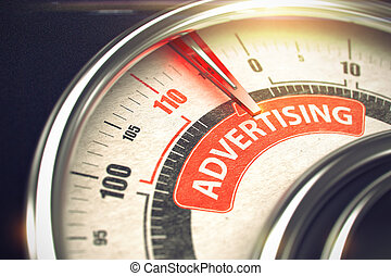 Advertising - Text on Conceptual Dial with Red Needle. 3D.