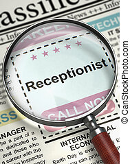 Receptionist Wanted. 3D. - Illustration of Small Ads of Job...