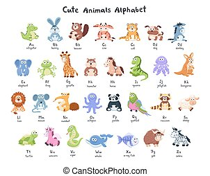 cartoon animals collection - Funny characters alphabet. Cute...