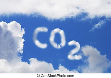 Carbon Dioxide Symbol - Carbon Dioxide symbol in blue sky...