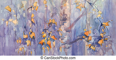 autumn birch leaves watercolor - autumn birch leaves on...